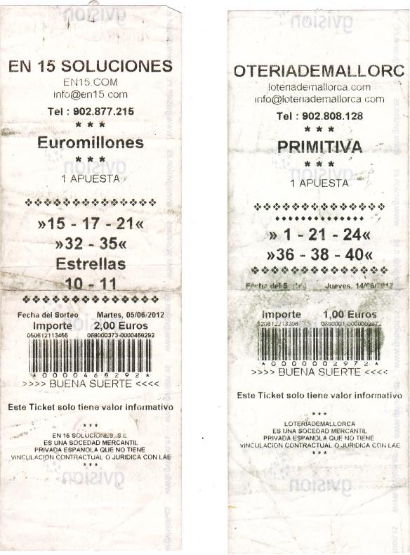 Justificantes emitidos por maquinas de loterías y apuestas del estado